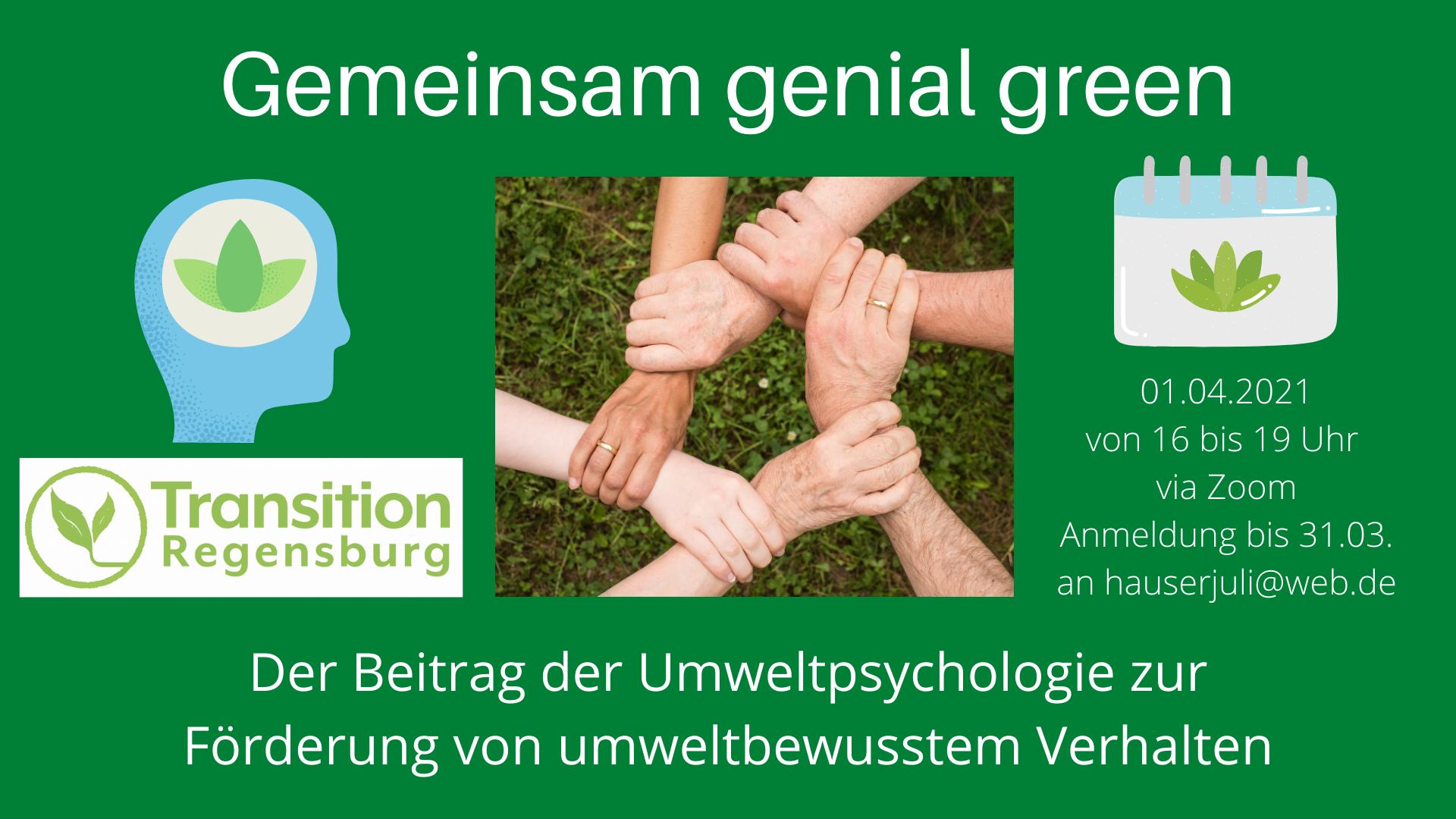 Gemeinsam genial green - Der Beitrag der Umweltpsychologie zur Förderung von klimaschonendem Verhalten @ Online